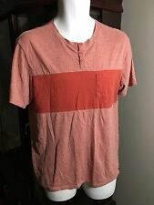 Men's On The Byas Orange Striped Henley Short Sleeve T-Shirt Size Medium