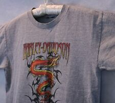 Harley Davidson w/ Dragon Gray Cotton T Shirt Heritage Concord NH SZ Youth L EUC