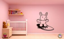 Wall Sticker For Kids Baby Rabbit on a Serfing Board Decor  Nursery Room z1410
