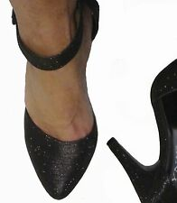 Black Glitter Pointed Pointy Ankle Strap High Stiletto Heels Pumps Shoes 7
