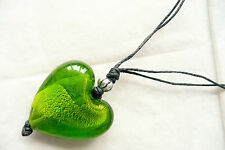 NECKLACE - LARGE PUFFED HEART FOILED GLASS PENDANT & SILVER BEAD DETAIL - NEW