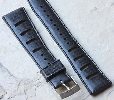 Black 20mm Tropic band style slotted NOS vintage divers watch rubber strap 1960s