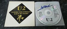U2 WHERE THE STREETS HAVE NO NAME CD USA PROMO ONE TRACK ISLAND PR 2104
