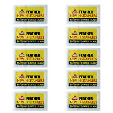 50 x Feather Razor Shaving Blades HI-STAINLESS Double edge Platinum coated JAPAN