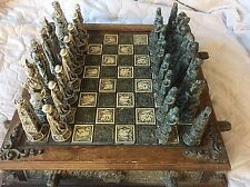 Vintage Mayan Aztec Chess Set Antique Wood Big Blue Green