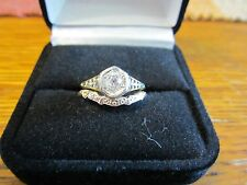 Art Nouveau Diamond Ring & Art Deco Wedding Band Size 6.5-7