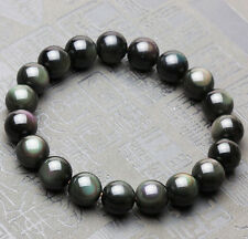 Natural Black Obsidian Rainbow Light Crystal Round Beads Bracelet 10mm AAA
