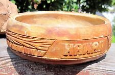 "Hawaiian Monkey Pod Wood Bowl Souvenir 1970's has ""HAWAII"" Carved on it"