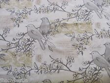 POSTCARD FROM FRANCE CHERRY TREES SONG BIRDS on COTTON FABRIC Priced By The YARD
