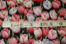 FQ PINK WITH BLACK  TULIPS FABRIC 18 X 22 INCH 100% COTTON POPLIN