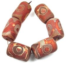 6 Tibetan Old Agate Barrel Drum Dzi Beads 20-23mm