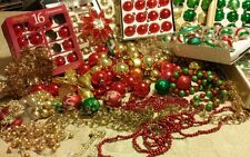 190+ huge  Lot  red green gold Christmas Ornaments Vtg shiny brite tree topper