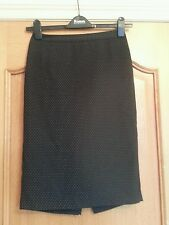 NEXT.  STRAIGHT PENCIL   SKIRT. SIZE 8. BLACK WITH WHITE SPOTS. LINED.   SMART