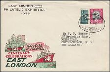SOUTH AFRICA 1948 EAST LONDON PHILATELIC EXHIBITION COVER TO NEW ZEALAND