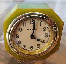 1930s New Haven Lux Green Octagon Catalin Clock
