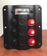 MARINE BOAT SPLASHPROOF 3 GANG SWITCH PANEL WITH VOLT METER LED INDICATOR