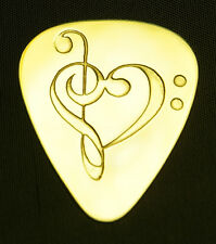 CLEF  HEART - Solid Brass Guitar Pick, Acoustic, Electric, Bass
