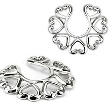 Non Piercing Clip On Heart Design Nipple Ring / Shield