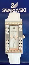 Swarovski Watch White Lovely Crystals Square Leather Strap Swiss Made 5096680