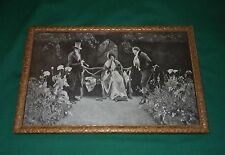 Victorian Picture Frame Gilt Wood Gesso w/ Print of Woman w/ 2 Suitors Top Hats