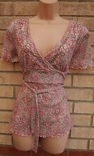 EDITIONS PINK PAISLEY BAROQUE BEADED BELTED LYCRA BLOUSE TUNIC TOP CAMI S 8 10