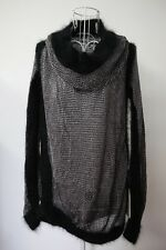 NWT Jean Paul Gaultier Black Silver turtleneck knit jumper top cashmere S