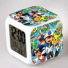 Pokemon Figures 7 Color Changing LED Night Light Alarm Clock Watch Cute Toy Gift