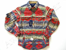 New Ralph Lauren Polo Extra Heavy 100% Cotton Indian Print Work Shirt slim S