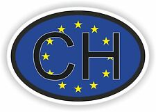 OVAL EU FLAG with CH SWITZERLAND COUNTRY CODE STICKER CAR MOTOCYCLE AUTO TRUCK