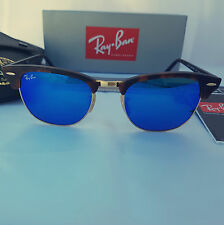 Ray Ban Clubmaster- RB3016 1145/17 51-21 size Tortoise Frame Blue Flash Mirror