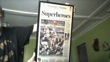 NEW ENGLAND PATRIOTS plaque, 1st superbowl WIN news paper