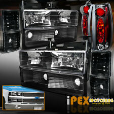 1994-1998 Chevy CK 1500/2500/3500 Silverado [10PC] Black Headlights+Tail Lights