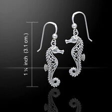 Celtic Knots Seahorse .925 Sterling Silver Earrings by Peter Stone