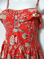 Vintage style Sun Tea Dress Cotton frill ruffle shells Indie hols uk10 hipster