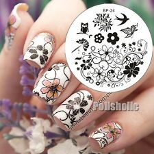 Spring Flower Swallow Owl Nail Art Stamp Template Image Plate BORN PRETTY BP24
