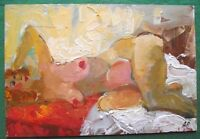 Original Oil Painting Reclined Redhead Nude by Petrenko: Give Fine Art