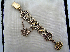 10 K Vintage (3) Filigree Link Fob w/ Pocket Watch Chain on Waist clip & Signet