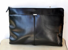 OROTON Black Leather Underarm Business Portfolio Laptop File Case Man-Bag Unisex