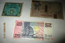 Singapore Ship $2 Rare Banknote - Two World War II Era France Banknotes