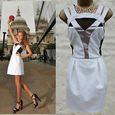 KAREN MILLEN Graphic Colour Block Black White Sporty Summer Cocktail Dress 12 UK