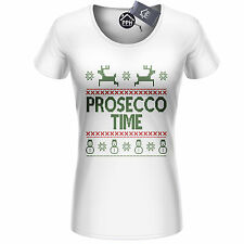 Prosecco Time Christmas T Shirt Top Champagne Xmas Drink Drunk Party Santa CH19