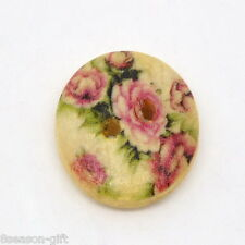 50PCs Flower Painting Wood Sewing Buttons 2 Hole 15mm