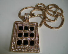 "Designer Style Gold Finish Hip Hop Bling Fashion  Pendant With 36"" Franco Chain"