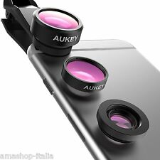 AUKEY Obiettivi Smartphone Clip On 3 In 1 Lenti Cellulare Kit iPhone Smartphone