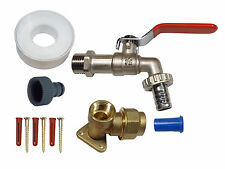 20mm MDPE Lever Outside Tap Kit With Brass Wall Plate & Garden Hose Fitting