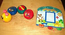 HTF Baby Einstein Caterpillar Bathtub Magnetic Bath Toy 4 Sections & Photo Album