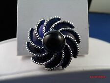 Vintage signed AVON royal navy blue dress clip/ brooch