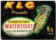 Vintage KLG bougie signe en métal, finition émaillée, publicité, vélo classique.