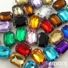 10pcs Mixed Square Plated Cup Loose Rhinestone Beads Sewing Craft Embellishment
