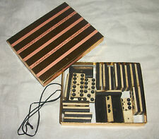 antique bone and ebony dominoe set of 24 with brass nails